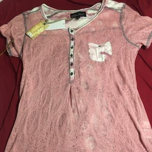 North River outfitters pink lace short sleeve NWT